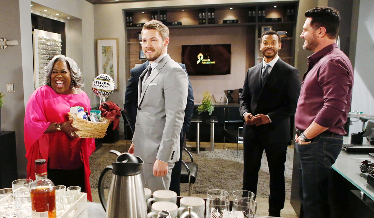 Emmy presents Liam with welcome back basket Bold and Beautiful