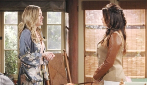 Hope and Steffy talk in the cabin Bold and Beautiful
