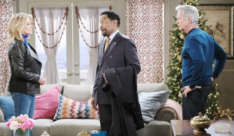 Marlena, Abe and John in the townhouse Days of our Lives