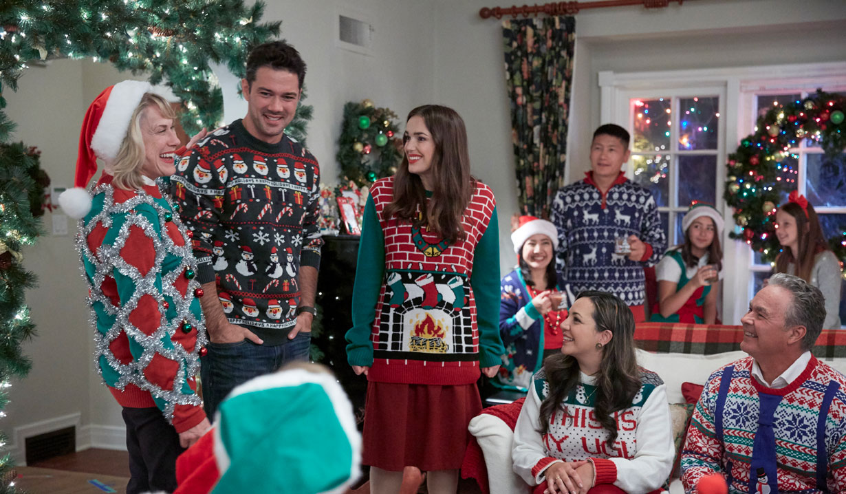 Festive sweaters in Hallmark's Christmas at the Plaza