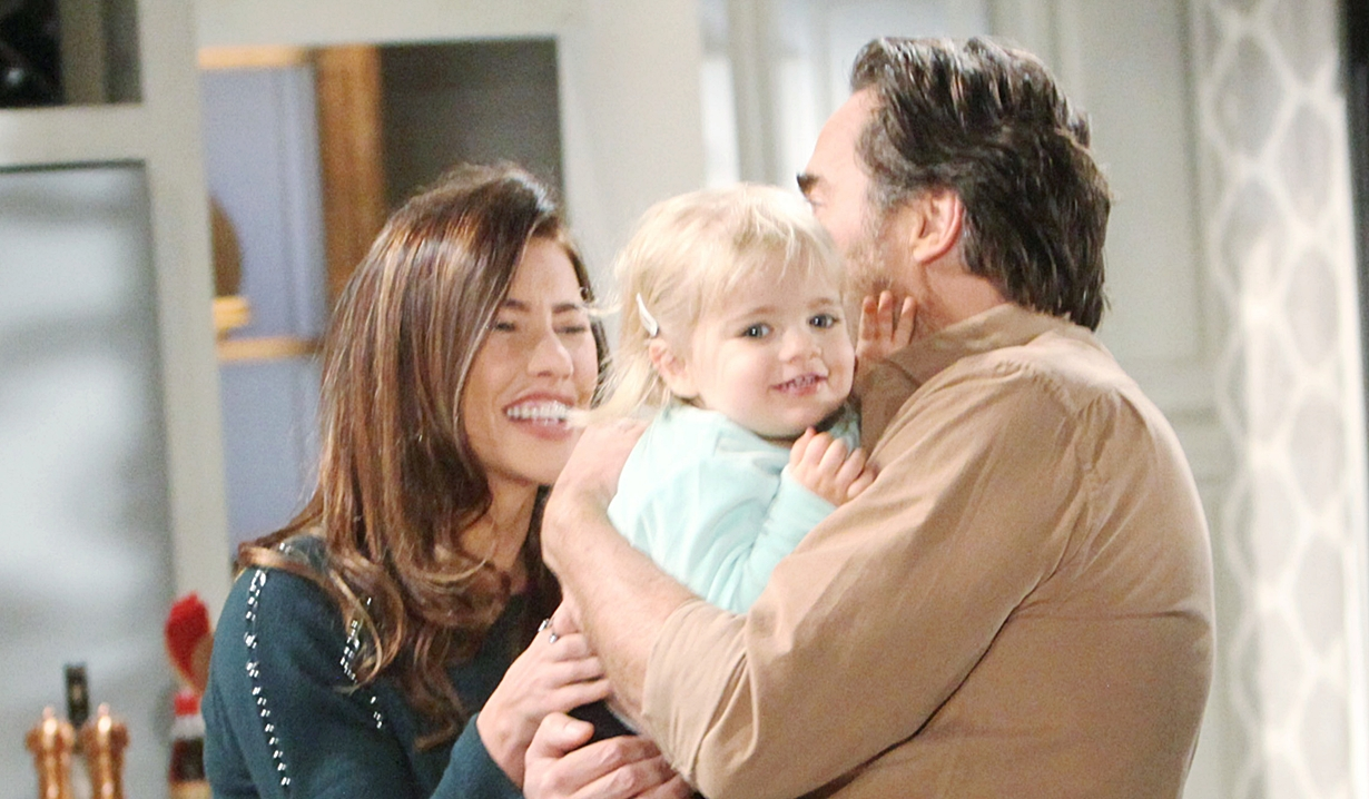 Steffy, Kelly and Ridge laughing happily on Bold and the Beautiful