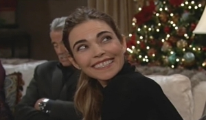Victoria grins at Billy Young and Restless