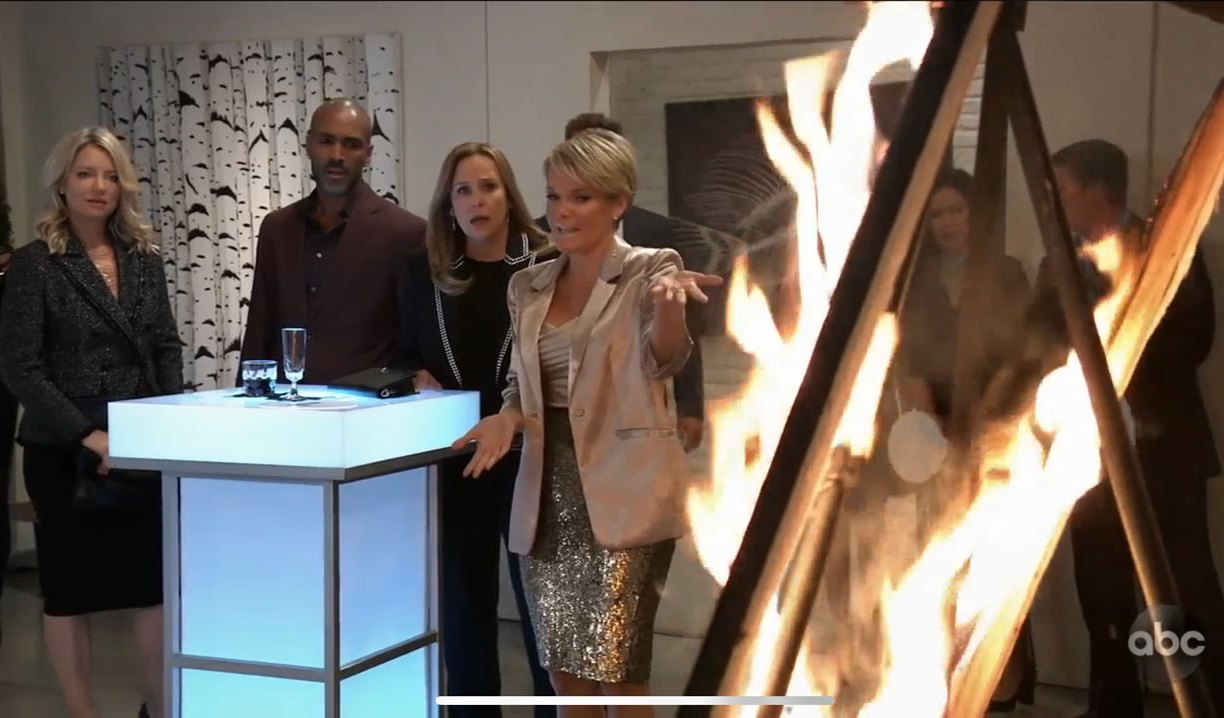 Helena's portrait in flames at Ava's on General Hospital