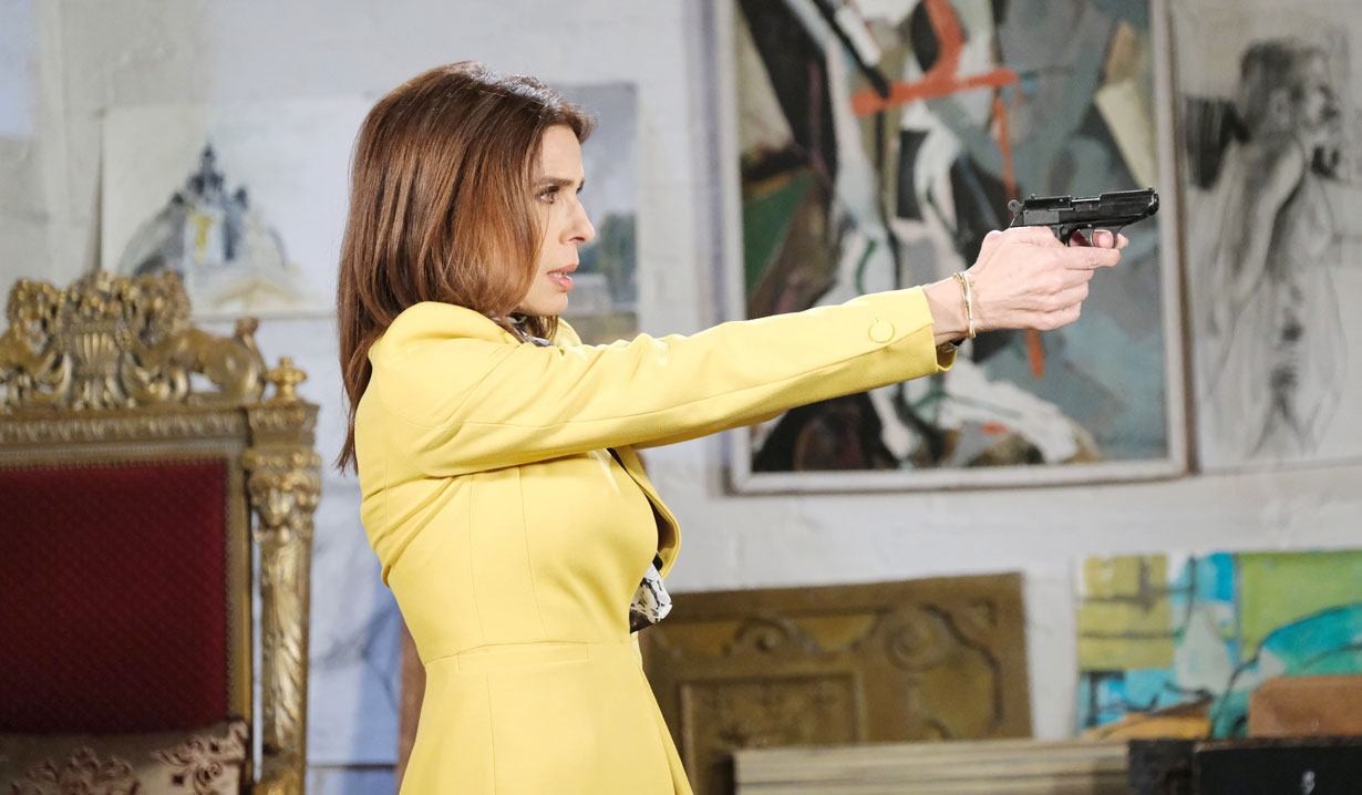 gina pulls gun on rafe in loft days of our lives