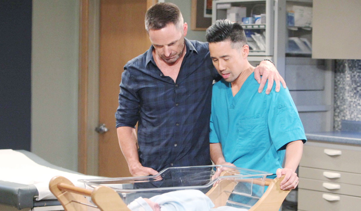 julian and brad admire baby wiley general hospital