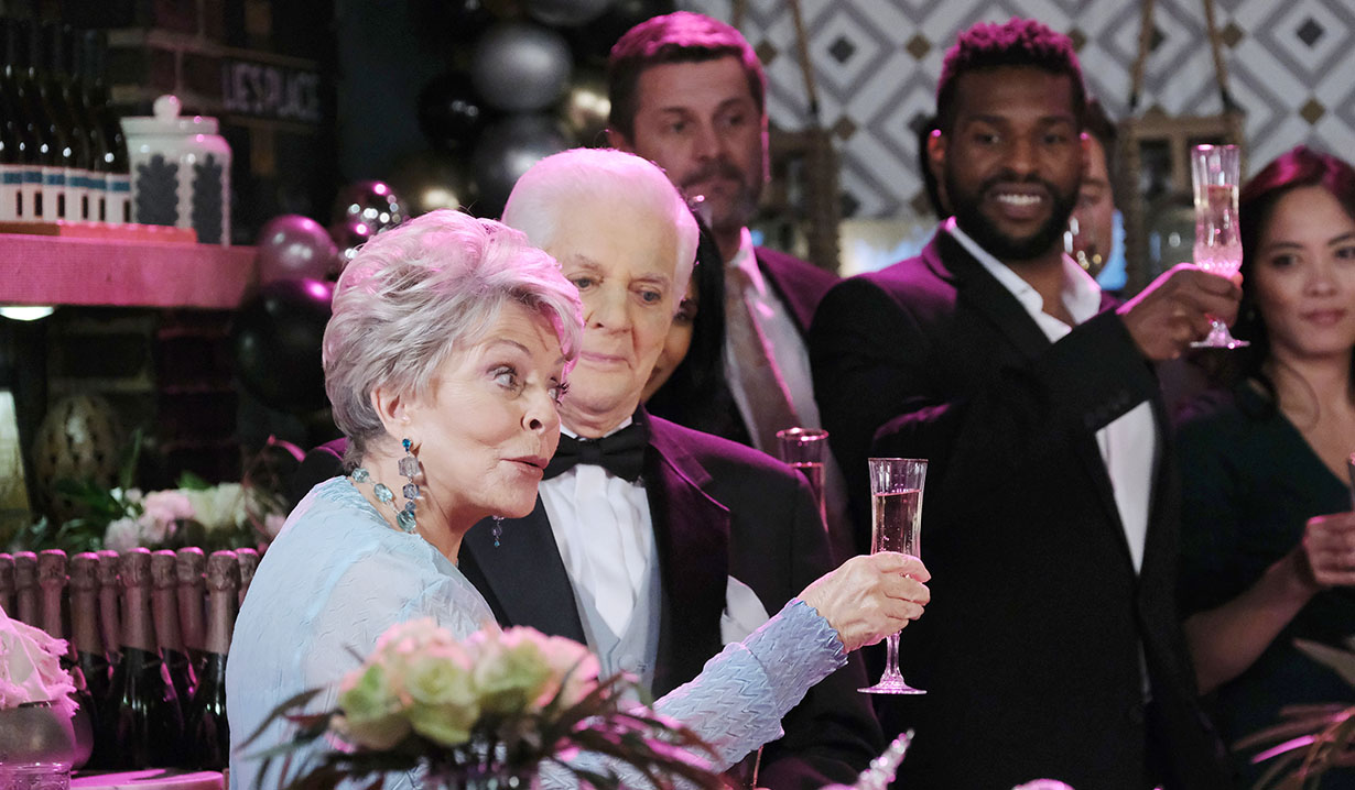 julie toasts on new years eve party days of our lives