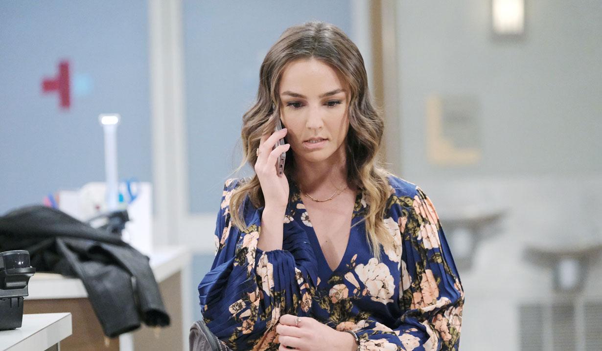 Kristina on phone on General Hospital