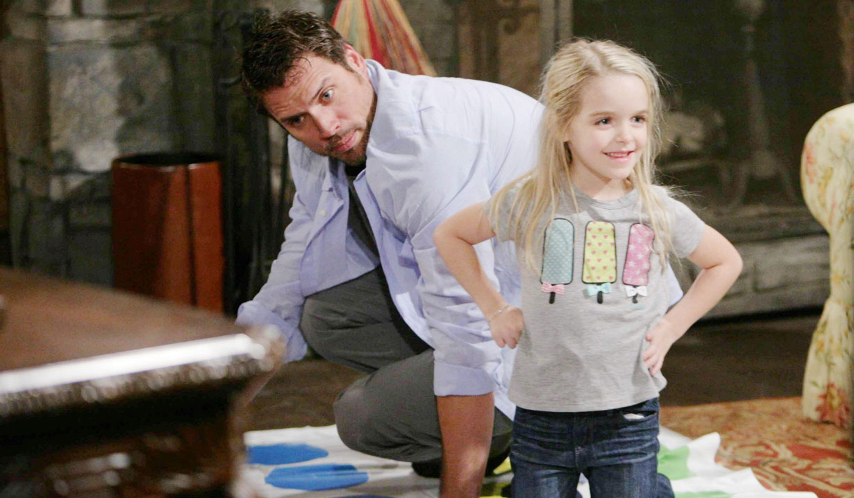 faith plays floor game with nick young and restless