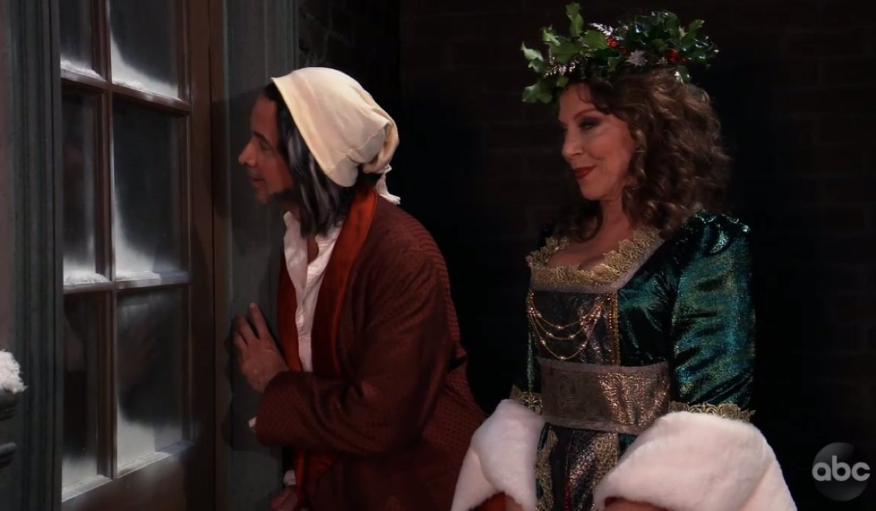 Finn as Scrooge and Obrecht as Ghost of Christmas Present on General Hospital