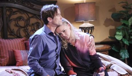 Belle rests her head on Philip's shoulder on Last Blast Reunion