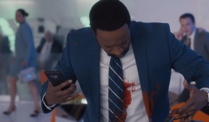 Fake blood is thrown on Titus on Ambitions