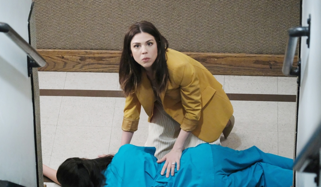 Abigail and Haley in stairwell Days of our Lives