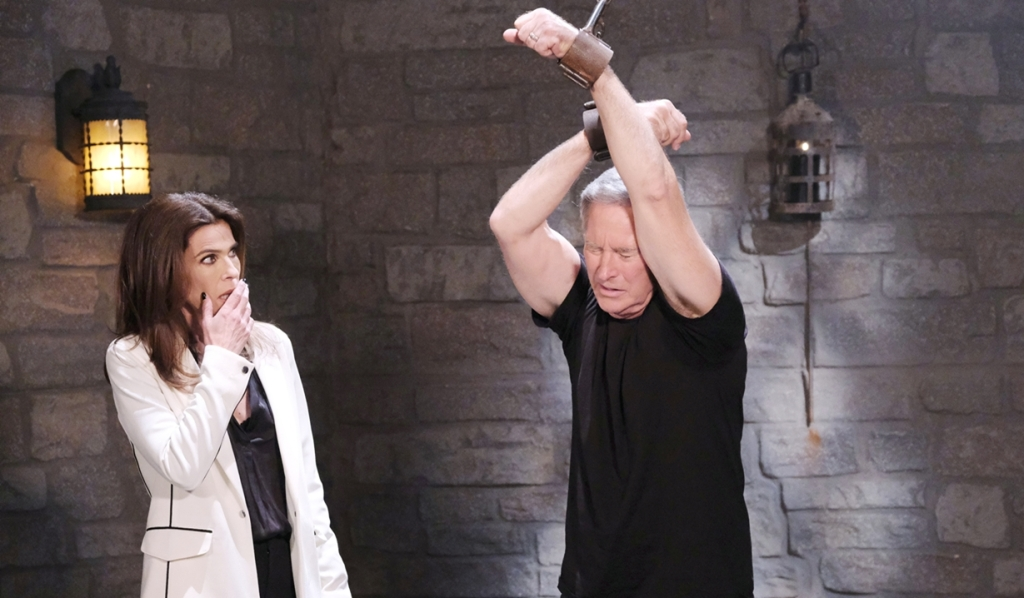Gina looks at John cuffed Days of our Lives