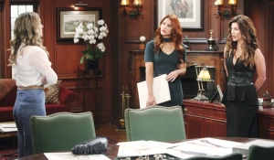 Hope talks to Steffy and Sally Bold and Beautiful