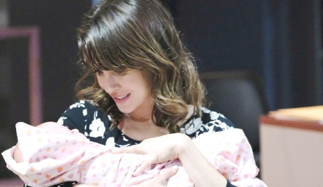 Sarah holds baby hospital Days of our Lives