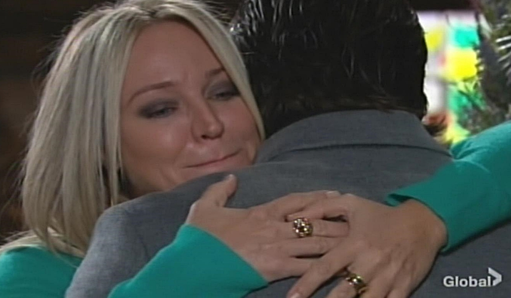 Sharon embrace Nick Young and Restless