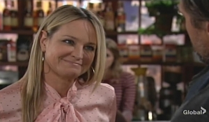 Sharon jokes with Nick Young and Restless
