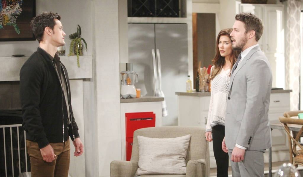 Thomas, Steffy and Liam in kitchen Bold and Beautiful