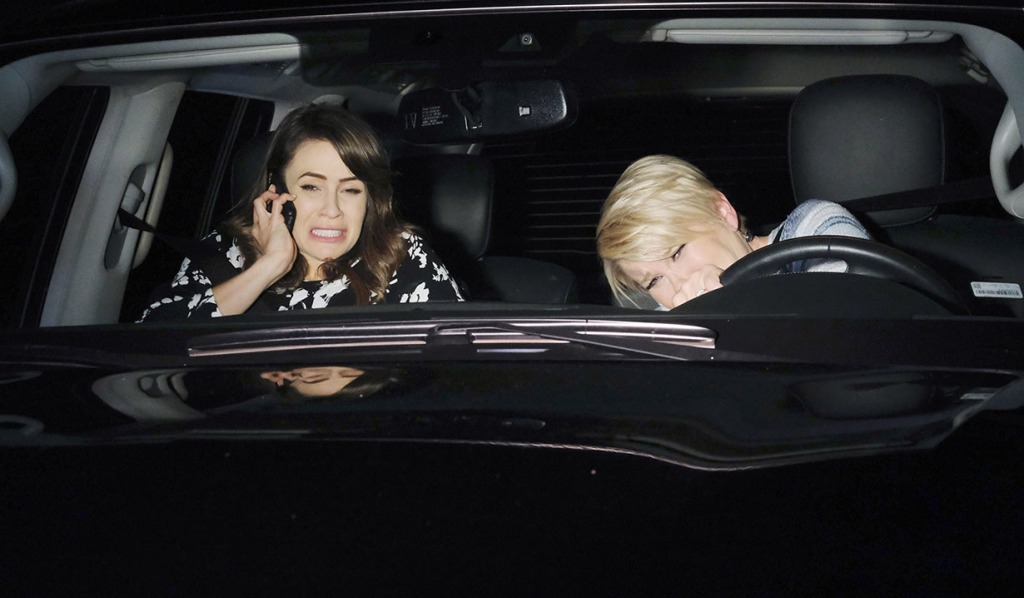 Sarah and Adrienne Scream as a Car Swerves Into Their Lane