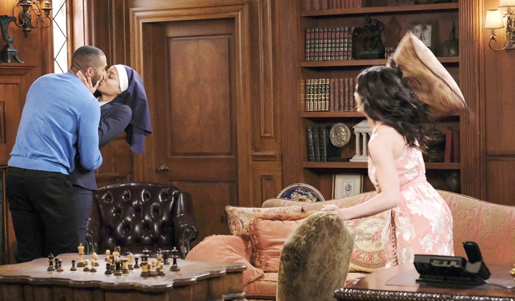 Gabi throws a pillow at Elani Days of our lives