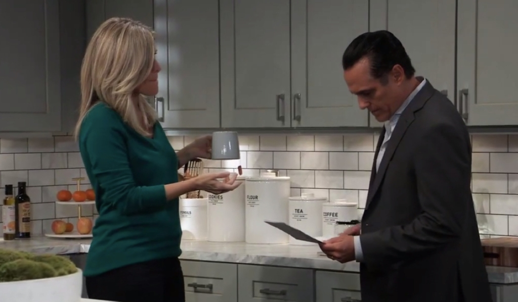 Carly and Sonny talk Mike's treatment on General Hospital