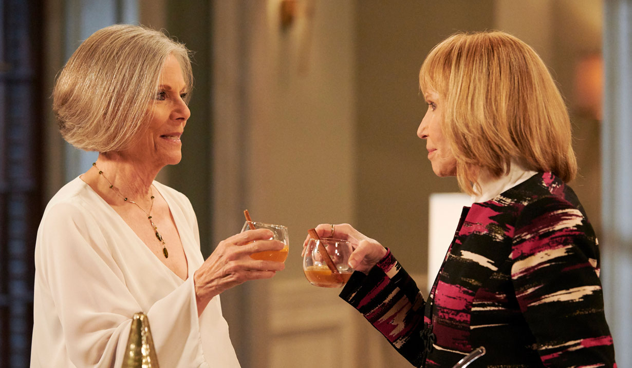 Monica and Tracy toast on General Hospital