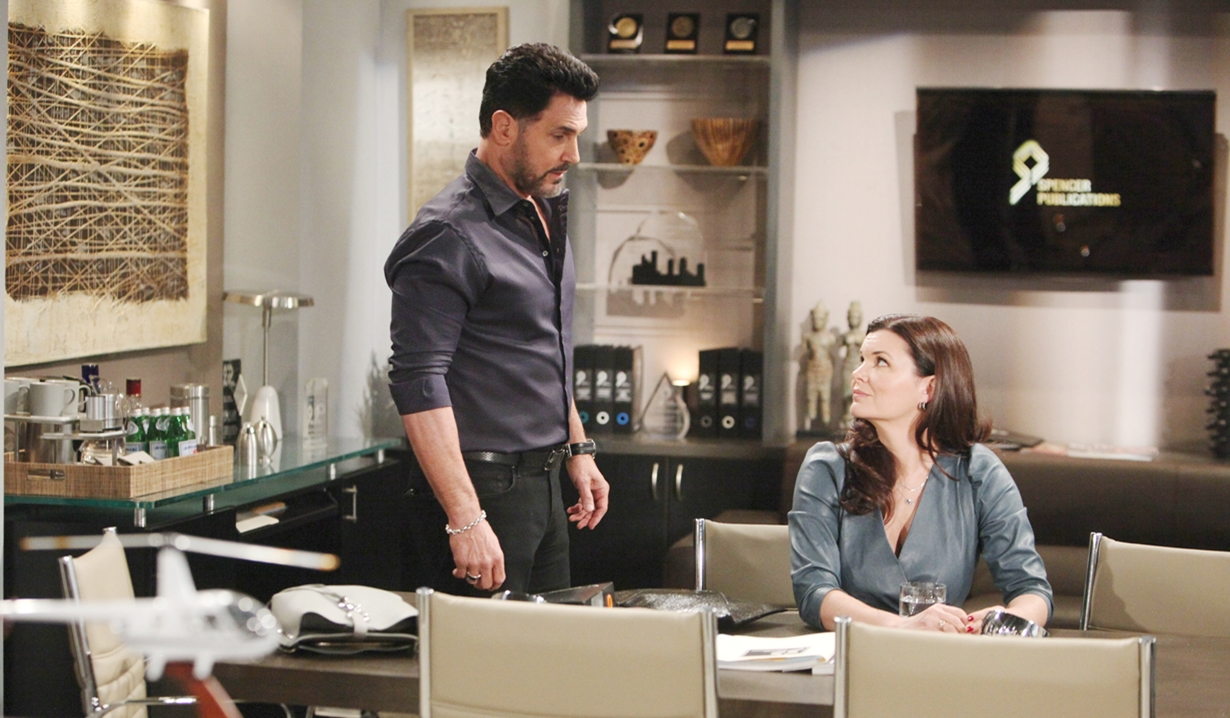 Bill, Katie in office Bold and Beautiful