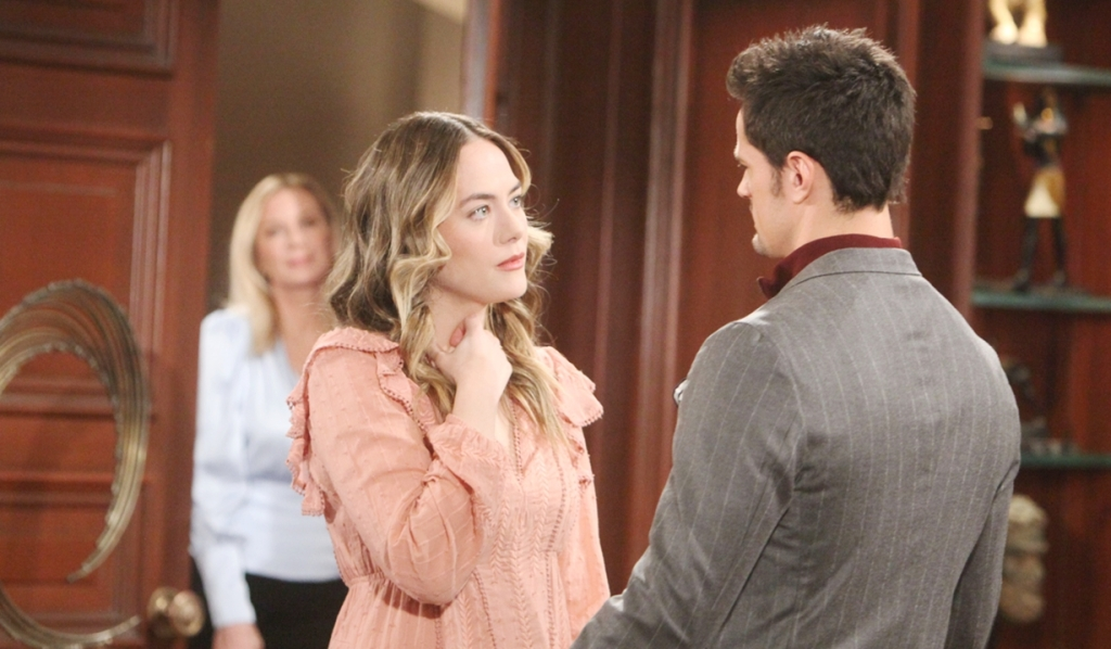 Brooke watches Hope with Thomas Bold and Beautiful