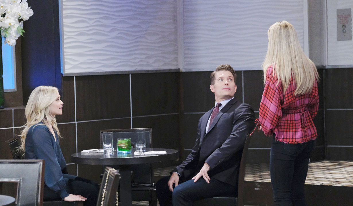 Joss interrupts Dustin and Lulu at the Metro Court on General Hospital