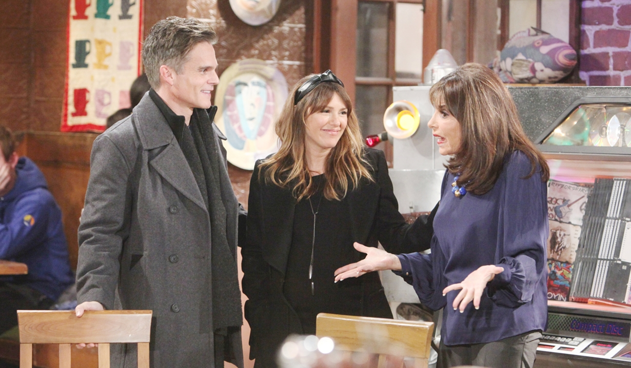 Kevin, Chloe, Esther smile Young and Restless