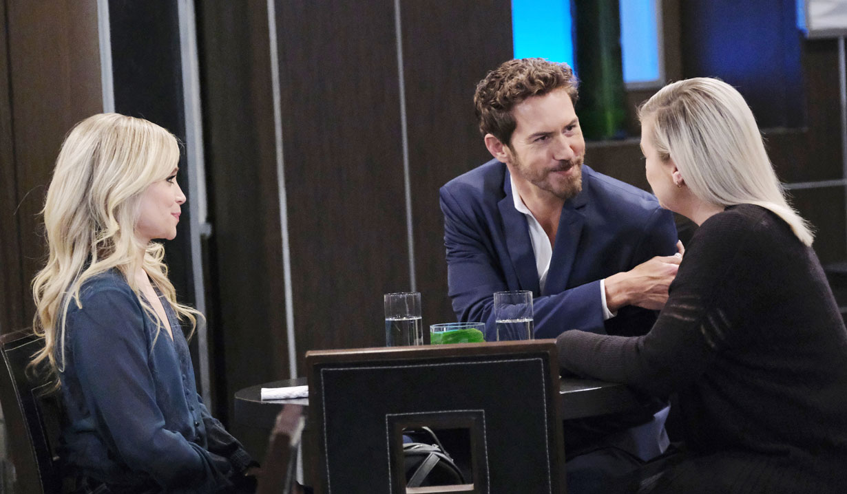 Peter sits with Lulu and Maxie at the Metro Court on General Hospital