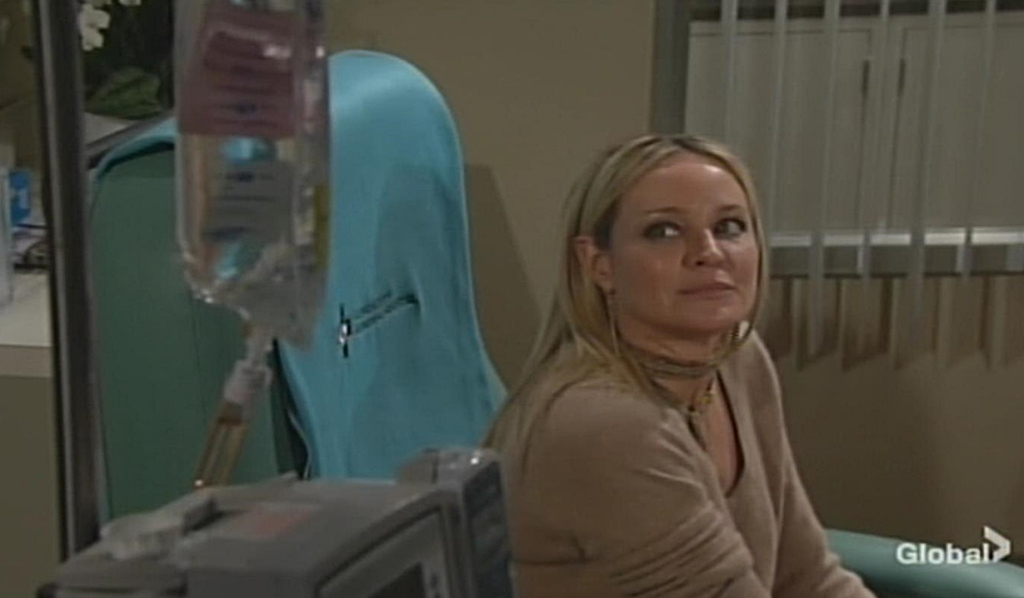 Sharon looks at chemo pump Young and Restless