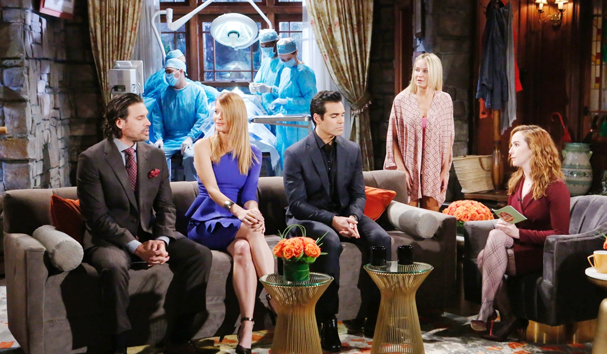Sharon watch Nick, Phyllis, Rey, Mariah Young and Restless
