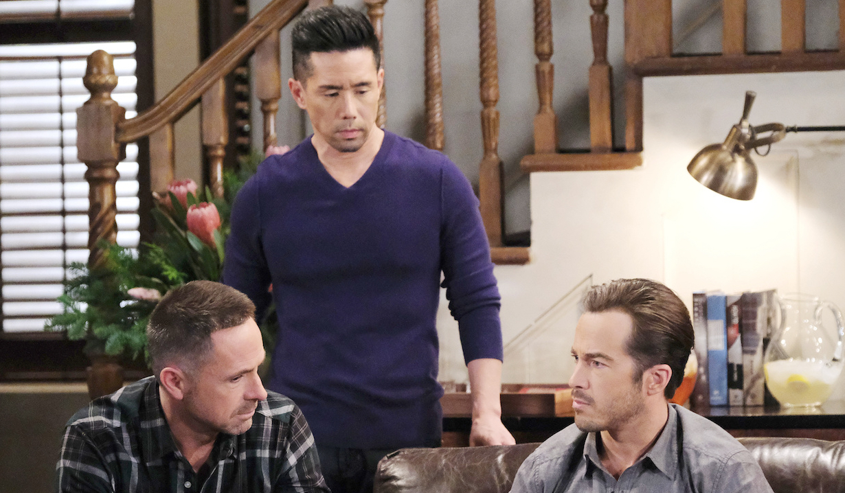 Brad listens to Julian and Lucas on General Hospital