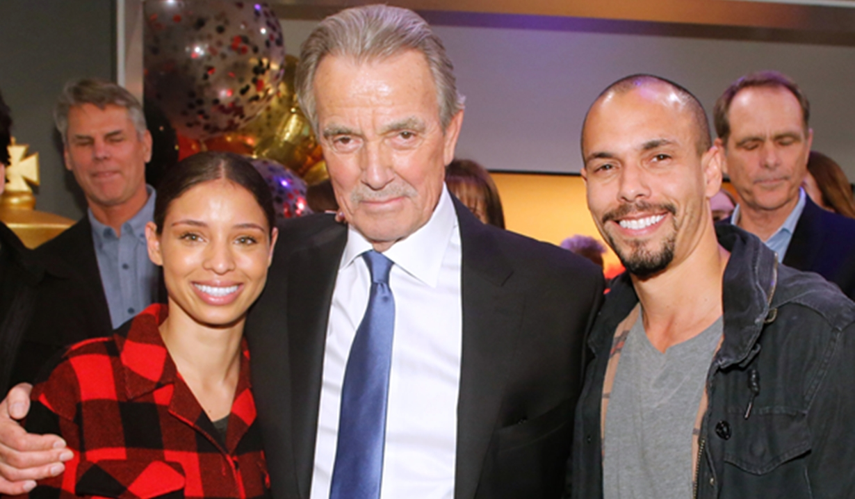 Eric Braden, Brytni Sarpy, Bryton James party Young and Restless