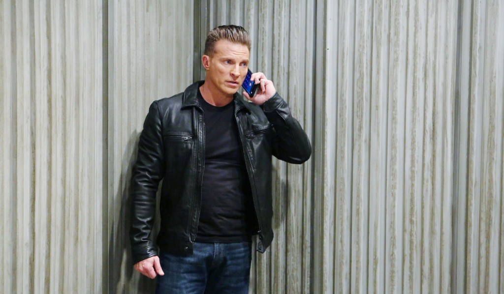 Jason makes a call from the warehouse on General Hospital