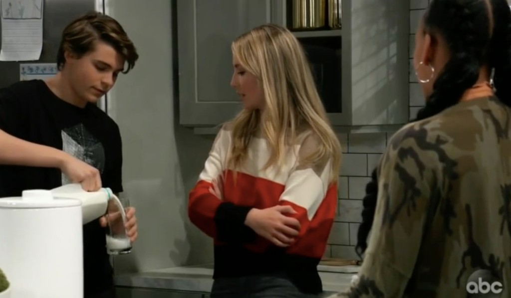 Cam, Joss and Trina talk about the dance on General Hospital