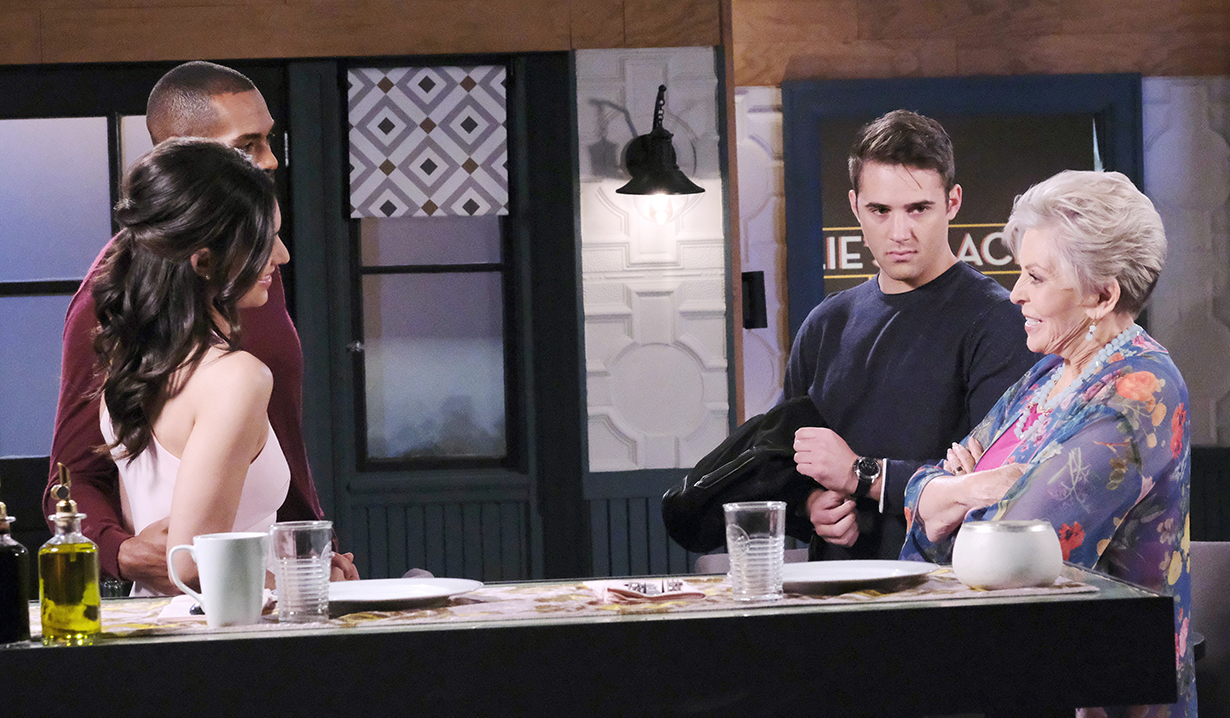 Eli, Gabi, JJ and Julie at the restaurant days of our lives