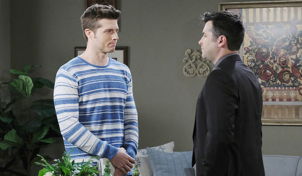 sonny and evan in a tense moment days of our lives