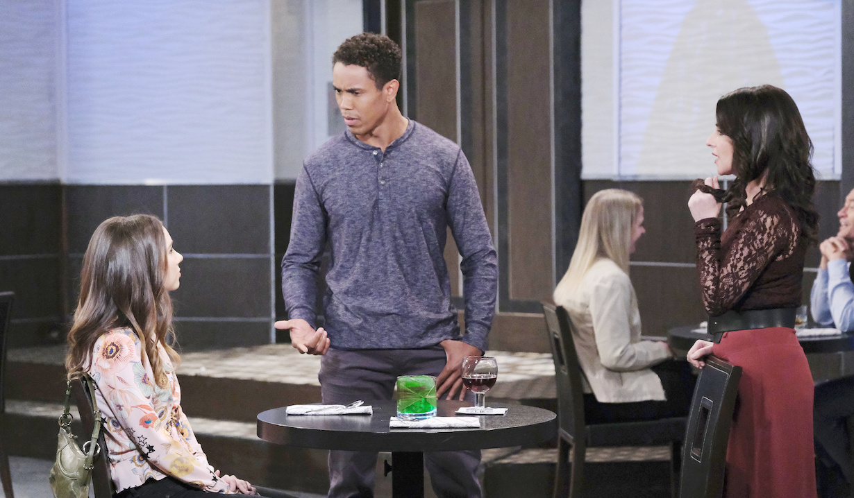 TJ interrupts Molly and Sam at the Metro Court on General Hospital