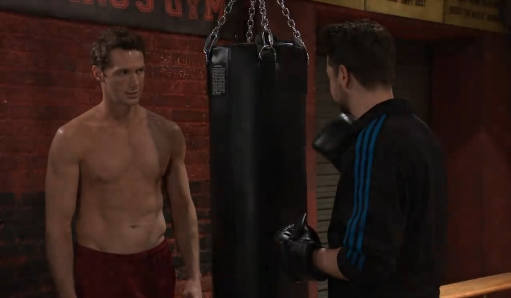 Brando asks Spinelli if someone needs rescuing at gym General Hospital