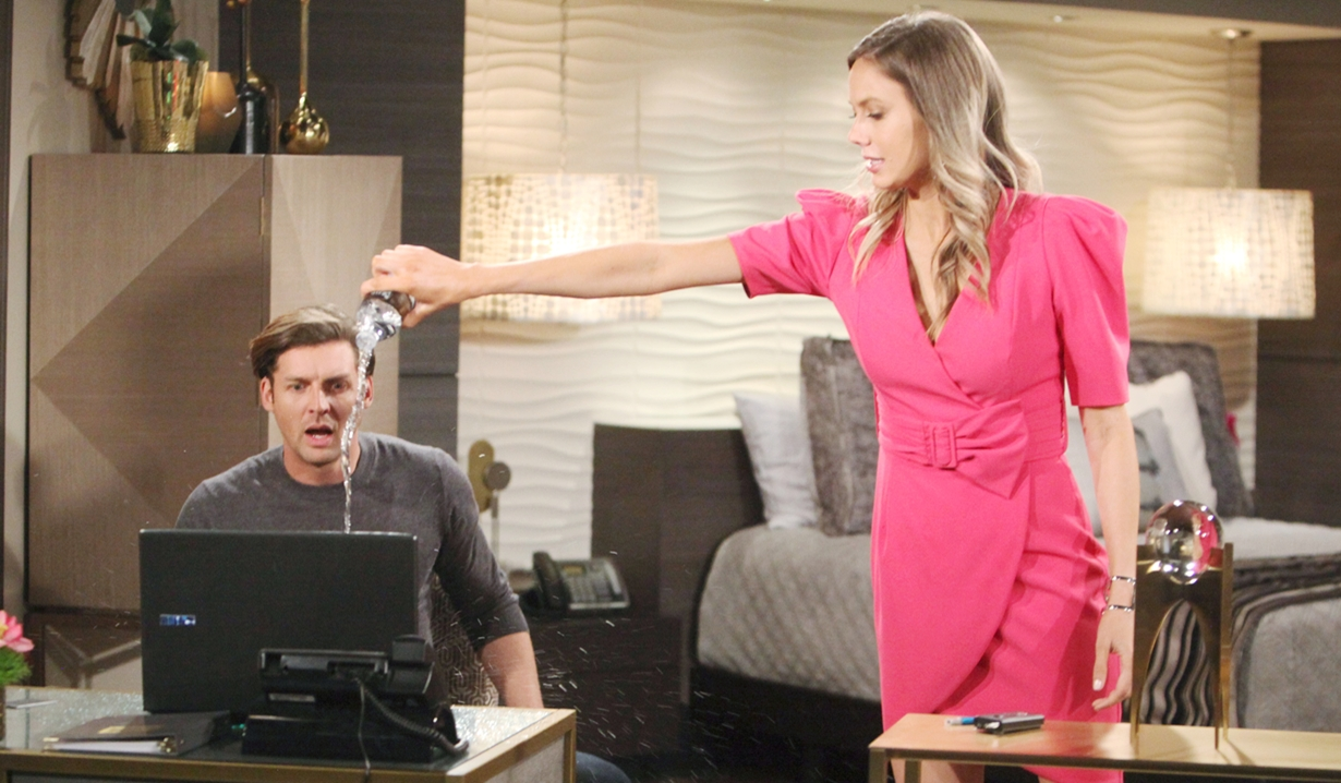 Chance react, Abby pour water Young and Restless