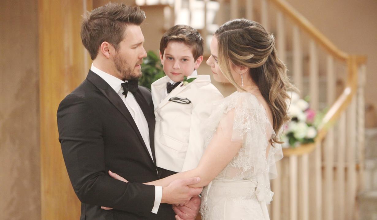 Liam, Douglas, Hope at wedding Bold and Beautiful