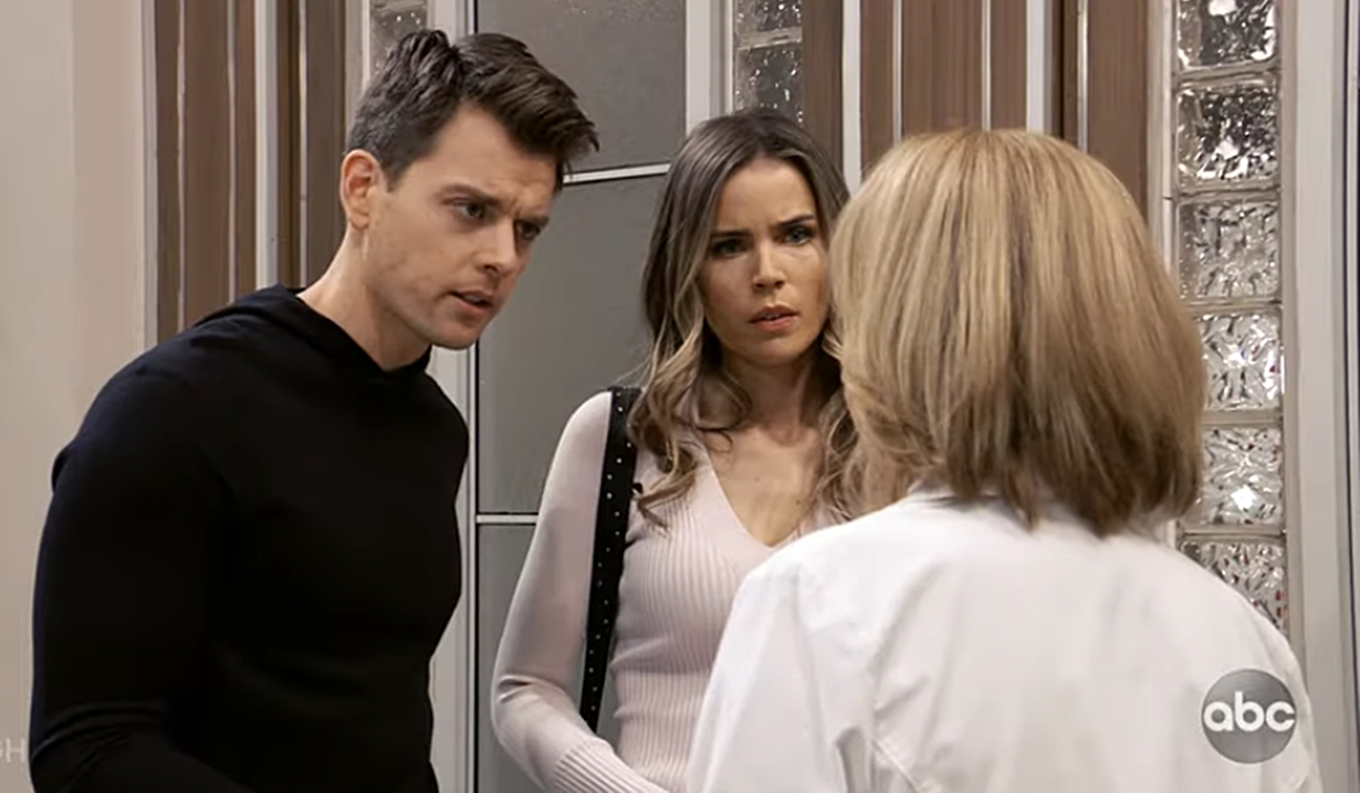 Michael, Sasha talk to Monica at hospital General Hospital