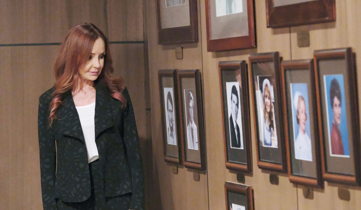 Bobbie admires the wall of memories at General Hospital