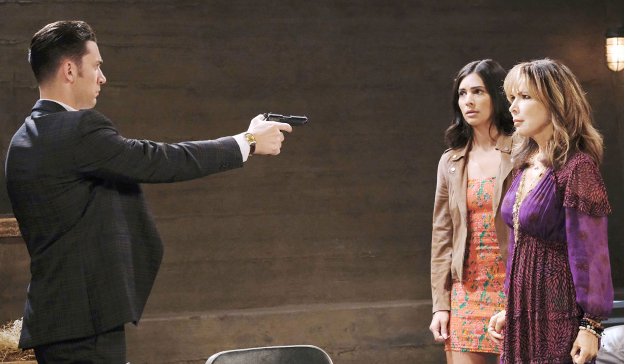 chad holds kate and gabi at gunpoint days of our lives