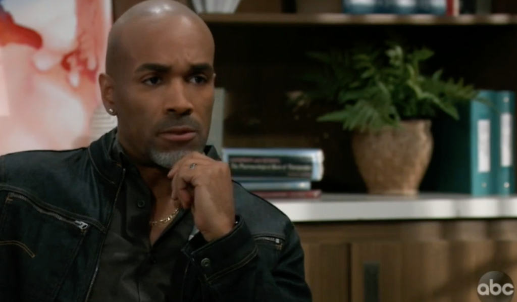 Curtis questions Portia on General Hospital