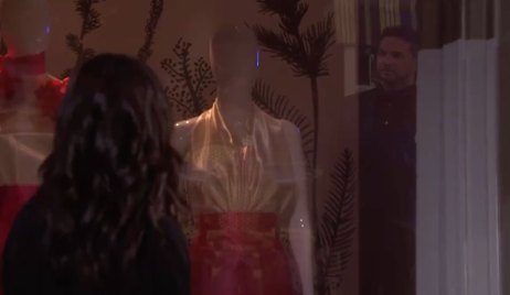 Gabi spots Stefan in her store window on Days of our Lives