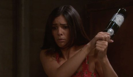 Gabi stikes Abigail with a Wine Bottle on Days of our Lives