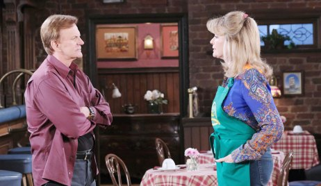 roman and hattie talk at the pub days of our lives